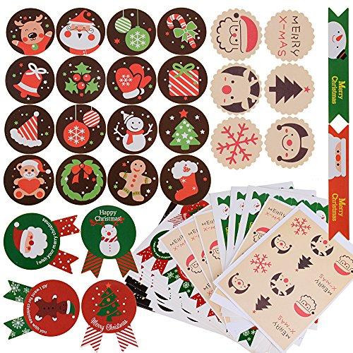 288pz 24 fogli Etichette Decorative Adesivi Natalizi Stickers Decorazione per Natale Chiudi Buste Regalo Sacchetto Bomboniere