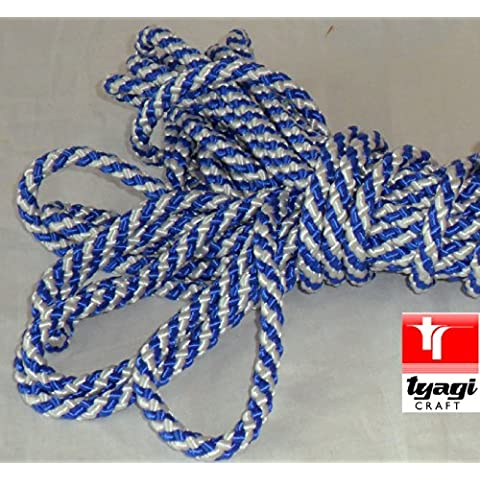 10mm per corda mobili decorazione finiture Craft progetti seta Corda Tenda Trims tappezzeria Spearmint Tyagi Craft, Blu/bianco
