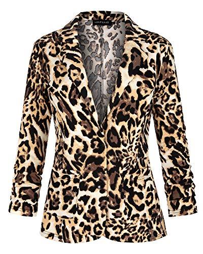 MINTLIMIT chamarras Informales para Trabajo, Oficina, con Bolsillos, Botones y Mangas 3/4 para Mujer Beige Estampado De Leopardo 36