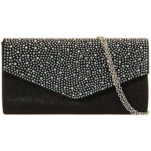 xardi nuovo Glitter Donna Diamante Frizione Borsa Da Sposa Designer Donna Sera Borsa Black Multi
