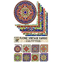 "Paper Pack (24sh 6""x6"") Persian Arabesque FLONZ Vintage Paper for Scrapbooking and Craft"