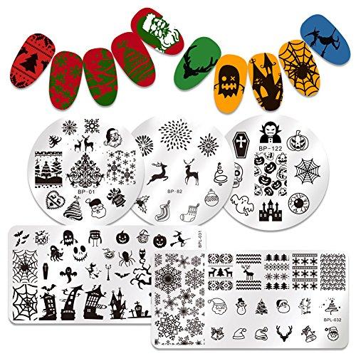 Born Pretty 5Pcs Nail Art Stamping Plate Christmas Halloween Santa Dear Pumpkin Snow Cobweb Manicure Print Template Image Plate