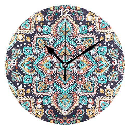 SUNOP Uhr für Kinder, mit Öl Bedruckt, 1 indisches Blumenmuster und Paisley-Medaillon-Muster, Wanduhren für Wohnzimmer, Schlafzimmer und Küche, Vintage-Stil Paisley Vintage Mantel