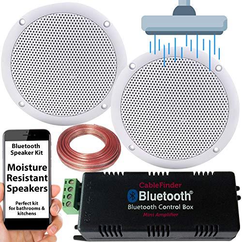 Smart Home Bluetooth Verstärker & 2x unempfindlich gegen Feuchtigkeit Deckenlautsprecher Kit-Kompakte HiFi Mini/Micro Amp-Badezimmer/Küche Audio Musik Player System-Cablefinder -