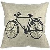 """Luxbon Funda de Cojín Almohada de Lino Duradero Decorativos para Sofá Cama Coche Bicicleta Clásica Antigua Negro 18x18"""" 45x45 cm"""