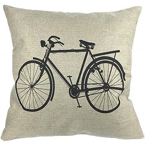 Luxbon Funda de Cojín Almohada de Lino Duradero Decorativos para Sofá Cama Coche Bicicleta Clásica Antigua Negro 18x18