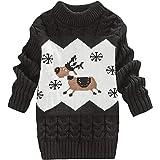 DEBAIJIA Baby Sweater Dress Niños Niña Christmas Jumper Invierno Jersey de Punto Grueso Cuello Redondo Cálido Transpirable Su