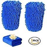 haichen limpiador de coche paquete de 3, 2, guante de baño (con 1gamuza de microfibra Ultra suave microfibra guante de limpieza de coche fregona de lavado de automóviles coche lavar guantes, azul