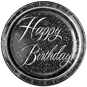 Unique Party Paquete de 8 Platos de Papel de cumpleaños, Color Plateado metálico Brillante, 23 cm (57485)