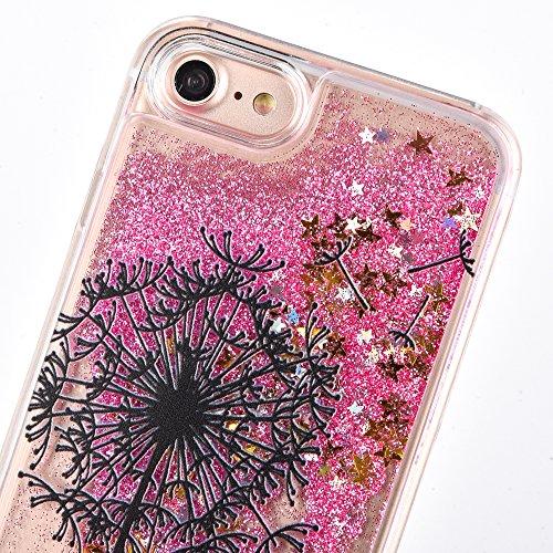 Voguecase Pour Apple iPhone 7 Plus 5,5, Luxe Flowing Bling Glitter Sparkles Quicksand et les étoiles Hard Case étui Housse Etui(Pissenlit-Or) de Gratuit stylet l'écran aléatoire universelle Pissenlit-Pink