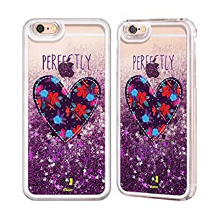 Head Case Designs Floral Heart Patches Purple Liquid Glitter Case Cover for Apple iPhone 6 / 6s