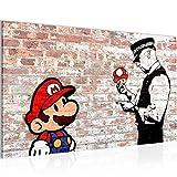 Bild Mario and Cop by Banksy Streetart Wandbild Vlies - Leinwand Bilder XXL Format Wandbilder Wohnzimmer Wohnung Deko Kunstdrucke Braun 1 Teilig - MADE IN GERMANY - Fertig zum Aufhängen 006514b