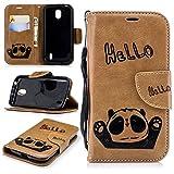 Alfort Coque Nokia 1, Housse Nokia 1 Fermeture Magnétique avec Fentes pour Cartes Fonction de Support Motif Panda (Marron)