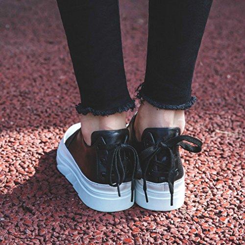 ANI Stazione Europea Primavera Scarpe Occidentali Scarpe Bianche in Pizzo con un Fondo Spesso con un Giro Singolo Scarpe da Donna Nero