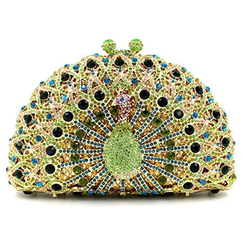 Santimon Donna Pochette Borsa Lusso Diamante Cristallo Pavone Borse Da Festa di Nozze Sera Con Tracolla Amovibile e Pacco Regalo 13 Colori verde chiaro