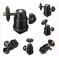 "SHOPEE BRANDED Multi Purpose Adjustable Swivel Angle Ball 1/4"" Mini Tripod Ball Head Kit Shoe mount adapter holder for…"