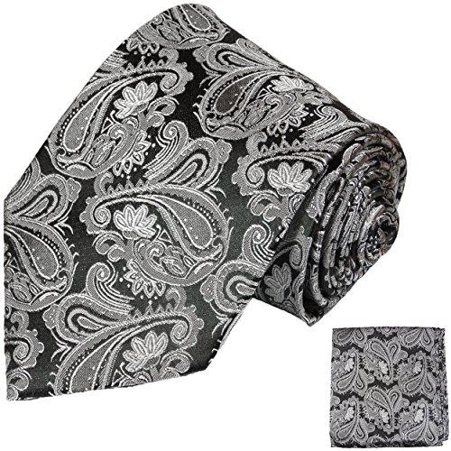 Cravate homme noir gris motif cachemire ensemble de cravate 2 Pièces ( 100% Soie Cravate + Mouchoir )