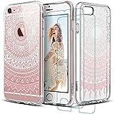 iPhone 7 Hülle +2xPanzerglas (4,7 Zoll), iLiebe® Mania Series Transparent Weiche Silikon Schutzhülle TPU Bumper Case Hülle für iPhone 7 Schutzhülle(Manjusaka)