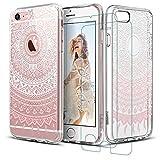 iPhone 8 iphone 7 coque + 2x verre trempé, Coque Silicone Transparente Motif Mandala...