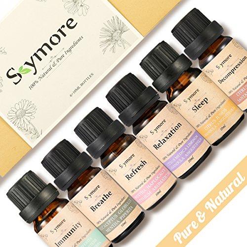 Kit de Top6 Huiles Essentielles 100% Naturelles, Idée Cadeau, pour les Diffuseurs d'Aromathérapie, Natural Essential Oil
