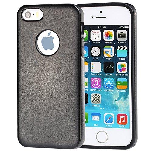 iPhone 5 hülle, iPhone se Holster hülle Flip nach oben und unten Handy hülle Premium PU Leder Tasche Flip Case Etui Handy Schutz Hülle für Apple iPhone 5 / 5s se - Rot Schwarz B