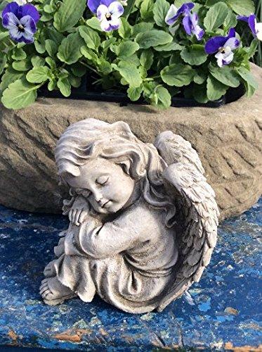 ruhender Engel Mädchen Stein Cherub Gartenfigur Statue Memorial