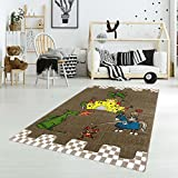 carpet city Kinderteppich Spielteppich Flachflor Junior mit Ritter/Drachen/Ritterburg-Motiv in Braun für Kinderzimmer: Größe 133x190 cm