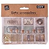 TE-DecoArt DIY 6 Stück Mini Glasflaschen Set mit Korken 9 Aufkleber Etiketten Dekofläschchen Glasfläschchen