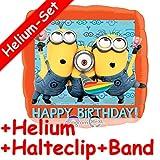 Folienballon Set * MINIONS + HELIUM FÜLLUNG + HALTE CLIP + BAND * für Kindergeburtstag oder Motto-Party // aus dem Film