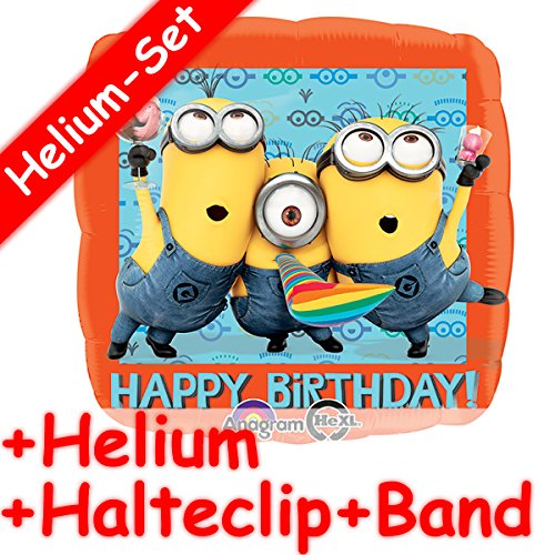 INIONS + HELIUM FÜLLUNG + HALTE CLIP + BAND * für Kindergeburtstag oder Motto-Party // aus dem Film