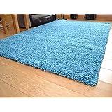 Tacto suave Shaggy Color Verde Azulado Gruesa lujoso suave 5cm Pelo Denso alfombra. Disponible en 7tamaños, azul, 120 x 170 cm