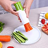 Enjocho Vegetable, Cucumber, Carrot, Strawberry Slicer ABS And Stainless Steel Strip Cutter Splitter Kitchen Gadget (White, 104x107mm)