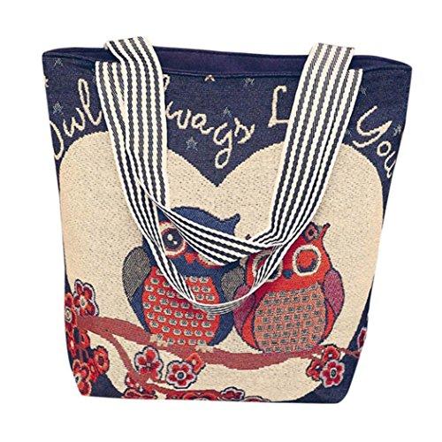 OHQ Hibou Impression Grande Capacité Ordinateur Portable Sac à BandoulièRe Beige Marine Gris Toile Cartoon Main Dames Sacs Fourre-Tout a Femmes Bandoulieres Pas Cher De Marque (c)