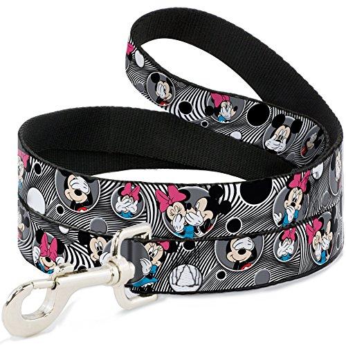 Buckle Down Disney Mickey & Minnie Peek-A-Boo Expressions Swirl Schwarz/Weiß Hunde Leine 2,5cm breit