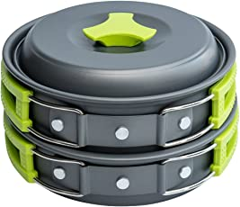 Zorbes Outdoor Cookware Set Cooking Utensils Lightweight Compact Pot Pan Bowls for Camping Hiking Backpacking Picnic