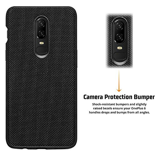 pretty nice fac4b 0b713 Firecrown Premium One Plus 6 Nylon Back Cover Case for OnePlus 6 / OP6  (1+6) | Black | Anti Scratch Non Slip | Camera Protection