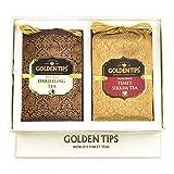 Golden Tips Gift Box Pack Pure Darjeeling and Temi Sikkim Tea - Brocade Bag, 2X100g