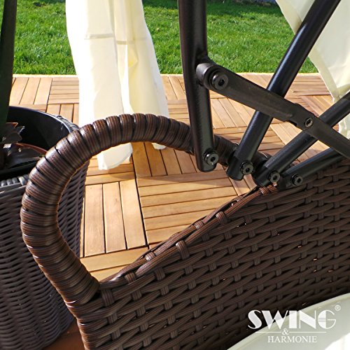 Polyrattan Sonneninsel mit LED Beleuchtung + Solarmodul inklusive Abdeckcover Rattan Lounge Sunbed Liege Insel mit Regencover Sonnenliege Gartenliege (180cm, Grau) - 4
