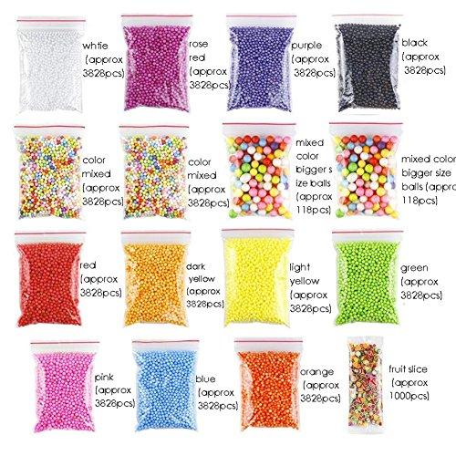 DIY Schaumkugeln 52 montiert Schleimproduktion Ebene setzen farbige Schaumstoffkugeln partikulären Polymerkügelchen Tonmehl Bonbonpapierchen Kinder manuelle Materialien DIY passen