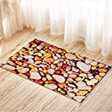 Story@Home Designer Stone Pattern Fancy Super Soft Anti Skid Superior Quality Door Mat - Brown