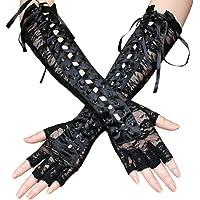 TENDYCOCO Guanti sexy pizzo rivetto guanti gomito lunghezza pizzo guanti flirtare per le donne ragazze 1 paio (nero)