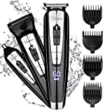 Hatteker 3 in 1 Beard Trimmer Kit per uomini Body Groomer Kit baffi Trimmer Cordless Hair Clippers Naso Capelli Trimmer con display a LED USB Regali ricaricabili per gli uomini
