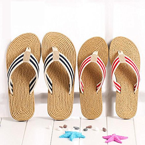 Flip-folps Slippers UnisexNon-slip Double EVA Tread Footwear Cotton Oxford Stripe Strap Thong Open Tot Sandals Indoor Outdoor Shoes Rubber Sole Fresh Mediterranean-style Casual Wear Pantofle Blue
