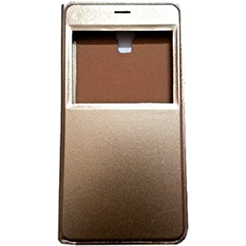 PCM S View Leather Flip Cover Case for Gionee M5 Plus M5+ ( CDMA + GSM ) - Golden ( not m5 lite) - Working Sensor