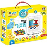 Skill Factory 2 In 1 Educational Learning Board With Multicolor Pins To Create Pattern On Peg Board/writing Board/Multipurpose Board For Kids/EN 71 Certified For Kids/multicolor Board For Kids