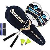 Senston Set di 2 Racchette per Badminton, con Carry Case Borsa per Racchette,Grafite Racchetta di Volano,Set Racchetta…