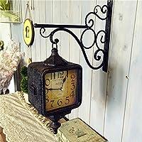 SSBY Rettangolo di ferro battuto soggiorno moderno orologi su entrambi i lati tranquilla orologio creative retrò doppia campana,Bronzo
