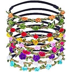 9 Piezas Diadema de Flores de Multicolor Corona de Pelo con Cinta Elástica Ajustable