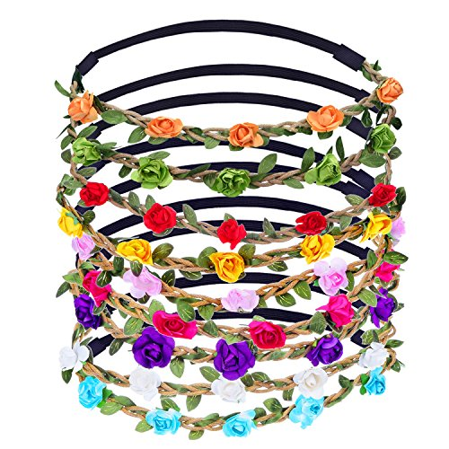 9 Pieces Multicolor Flower Headband Women Girl Fashion Floral Crown Garland Headbands with Elastic Ribbon