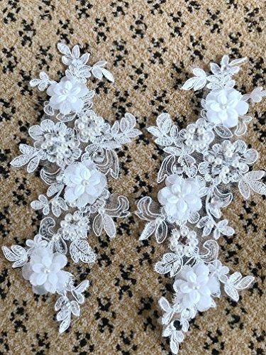 zbroh Fleurs en dentelle cousues à la main, avec strass, bricolage, accessoires pour les cheveux, dentelle pour robe de mariée, chaussures de mariage, décorations de tête, appliques, patchs